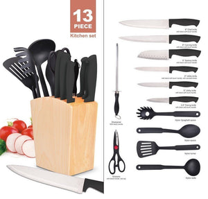 13pcs Kitchen Utensil Set Included 6Pcs Kitchen Knives With Scissors & Sharper,4Pcs Nylon Cooking Tools, 2 In 1 Knife Block And Utensil Holder
