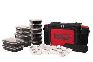 Isolator Fitness 6 Meal ISOBAG Meal Prep Management Insulated Lunch Bag Cooler with 12 Stackable Meal Prep Containers, 3 ISOBRICKS, and Shoulder Strap - MADE IN USA (Black/Red Accent)
