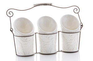 "iEnjoyware Kitchen Tool Crock (4 Pieces) - 3 Ceramic Utensil Holders (4"" Dia x 7"" H each) & 1 Metal Caddy - White & Embossed Design"