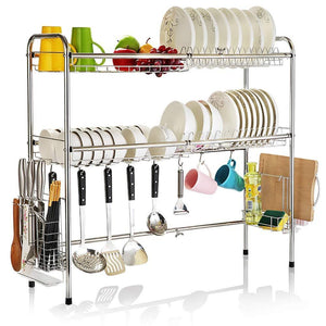 MAGO Retractable 304 Stainless Steel Dish Rack Drain Rack Sink Universal Pool Frame Kitchen Shelf Multi-Function Kitchen Storage (Size : 100cm x 28cm x 82cm)