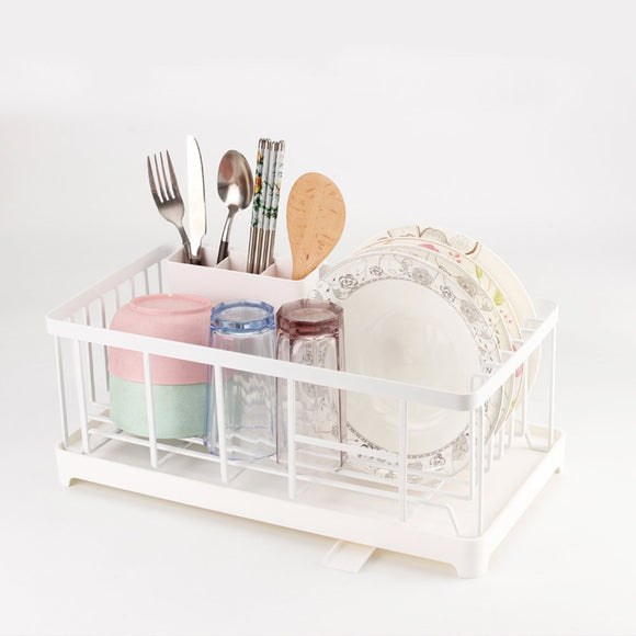 Stylish Sturdy Stainless Steel Metal Wire Medium Dish Drainer Drying Rack for Kitchen Countertop (white)