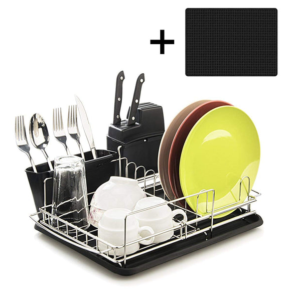 Toplife Expandable Stainless Steel Dish Rack, with Microfiber Mat, Drainboard, Removable Utensil Holder and Knife Holder, Over the Sink, In Sink Or On Counter