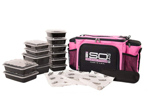 Isolator Fitness 6 Meal ISOBAG Meal Prep Management Insulated Lunch Bag Cooler with 12 Stackable Meal Prep Containers, 3 ISOBRICKS, and Shoulder Strap - MADE IN USA (Pink/Black)