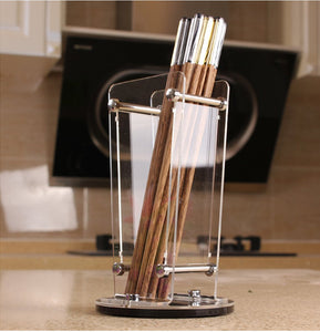 Vivian Portable Acrylic Transparent Chopsticks Holder Utensil Flatware Knives Forks Spoons Organizer Holder
