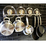 Tevizz Gourmet Kitchen Wall Mount Rail and Hooks Stainless Steel Pot Pan Lid Holder Rack