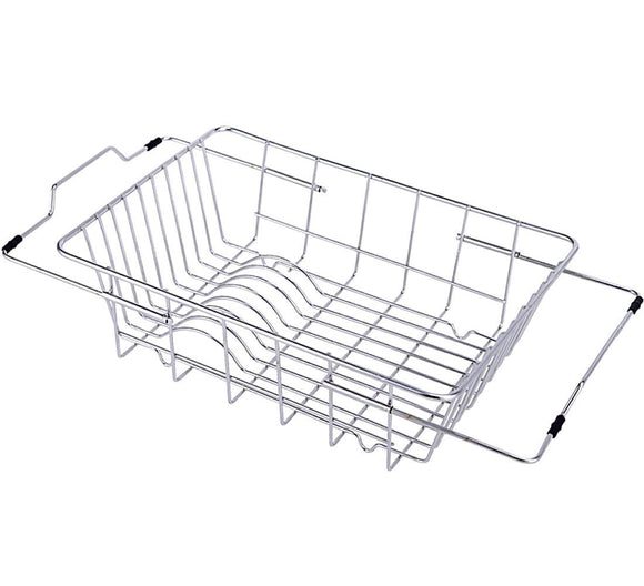 YOMYM Adjustable In-Sink/Over-Sink Stainless Steel 18-8 Dish Rack Kitchen Dish Drainer Rack