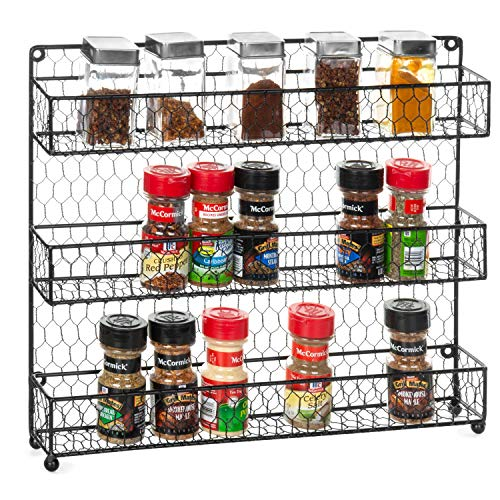 MyGift 3-Tier Rustic Chicken Wire Wall-Mounted Spice Rack