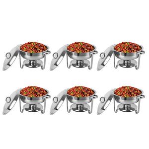 ROVSUN 5 Qt 6 Packed Full Size Upgraded Stainless Steel Chafing Dish Buffet Silver Round Catering Warmer Set with Food and Water Trays, Mirror Cover, Thick Stand Frame for Kitchen Party Banquet
