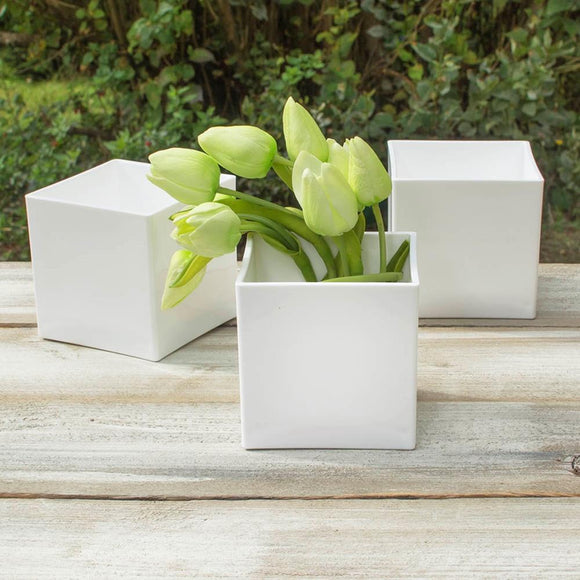 Square Vase, 4 in x 4 in, Plastic, Floral, White, Event Pack of 24