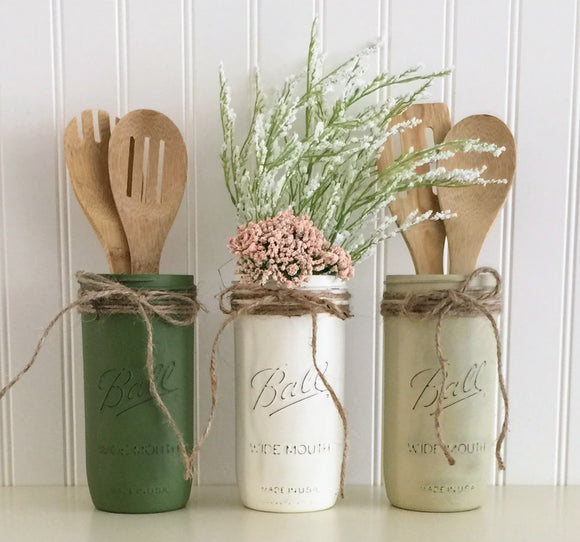 Mason Jar Utensil Holder Set - 3 Piece, Green, White, Beige, Kitchen Decor