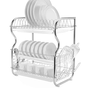 Glotoch Dish Drying Rack, 3 Tier Dish Rack with Utensil Holder, Cup Holder and Dish Drainer for Kitchen Counter Top, Plated Chrome Dish Dryer Silver 17.2 x 9.5 x 15 inch