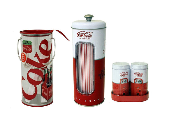 Coca Cola Salt & Pepper Shaker, Straw Holder & Utensil Holder Set