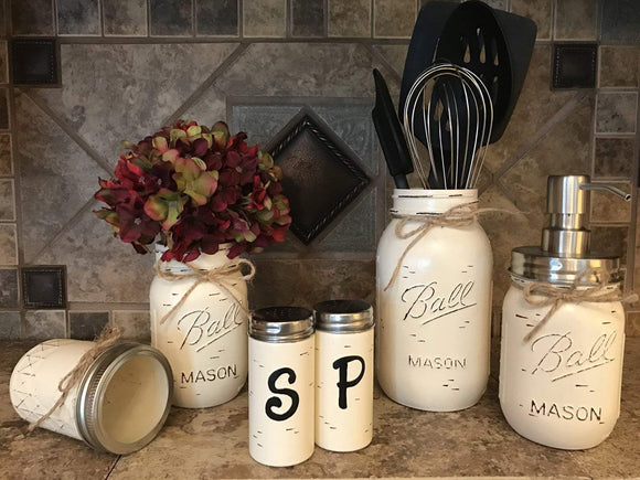 Ball Mason Jar KITCHEN PICK YOUR OWN PACK SET ~Pint Vase, Salt & Pepper Shakers, Utensil Holder, Stainless Steel Soap Dispenser ~Canning JARS Hand PAINTED Distressed ~Gray White Brown Cream Tan