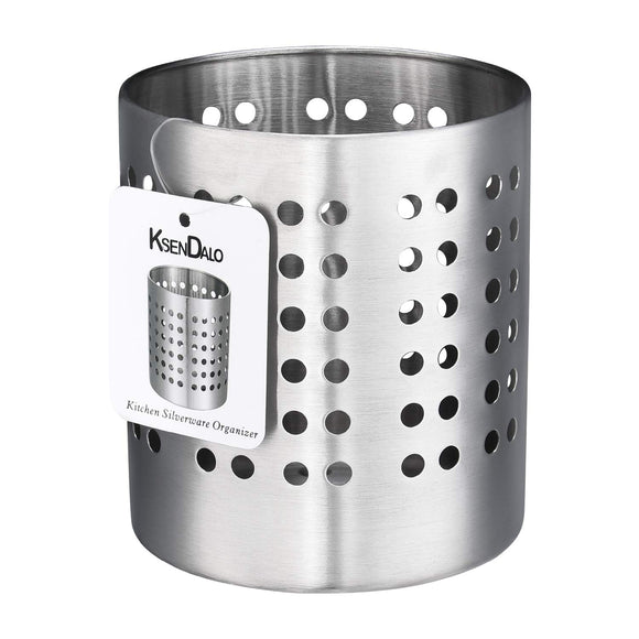 Kitchen Utensil Holder, KSENDALO Stainless Silverware holder, Kitchen Utensil Drying Cylinder,utility for Kitchen/Home/Office, Diameter 3.94