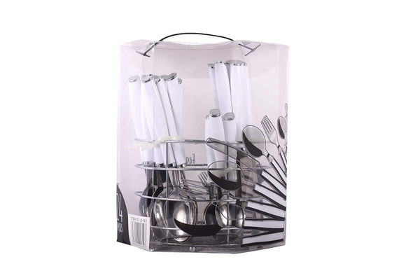 24-Piece Stainless Steel Plastic handler Flatware Set, Service for 6 with Utensil Holder- 6 pcs Knives, 6pcs Forks, 6 pcs Soupspoom, 6 pcs Tea Spoon (Orange)