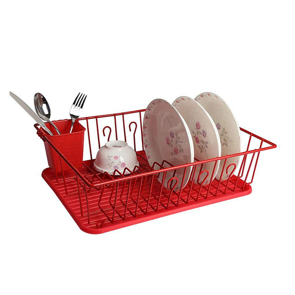 Mega Chef Dish Rack with 14 Plate Positioners and A Detachable Utensil Holder, Red