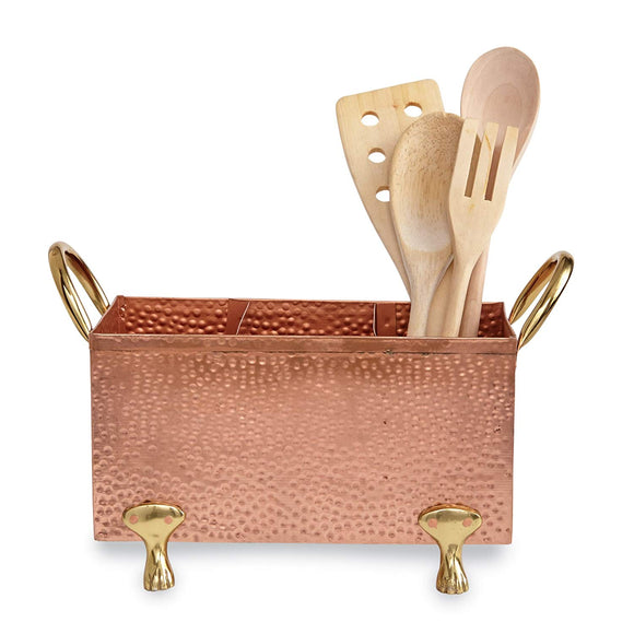 Mud Pie 4584021 Copper Caddy Utensil Holder,