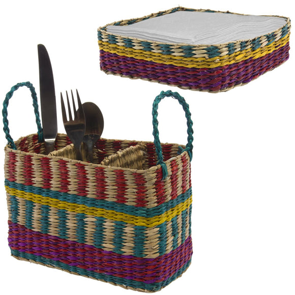 Tag 2pc Utensil Caddy & Napkin Holder Set Table Silverware Organizer Seagrass Basket