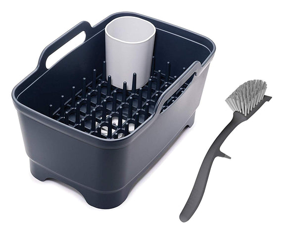 Joseph Joseph Wash & Drain Plus Dishpan and Dish Rack Utensil Holder Set with Dishwashing Basin Dryer Dish Rack Drainer Plug Carrying Handles Bundle w/Edge Dish Brush w/Integrated Sink Rest, Gray
