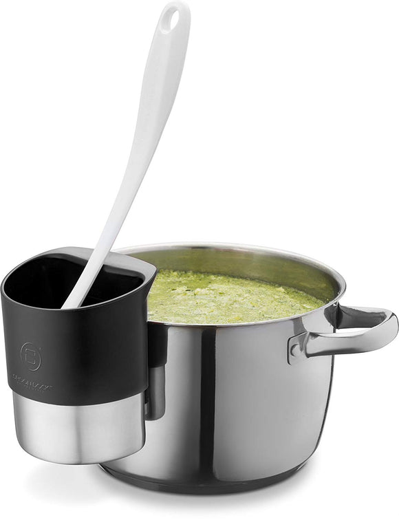 Spoon Rests for Kitchen - Stainless Steel Spoon Dock for Utensils | This Cup Hangs on Saucepans and Pots for Preparing and Serving Food Without a Mess - Use as a Measuring Cup, Mix, Pouring - Black