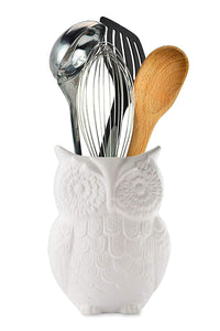 "Comfify Owl Utensil Holder Decorative Ceramic Cookware Crock & Organizer, in Lovely White Color - Utensil Caddy and Perfect Kitchen Ceramic Décor Gift - 5"" x 7"" x 4"" Size"