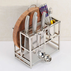 Stainless Steel Kitchen Storage Rack Organizer Multifunctional Combination Tool Shelf Knife Chopping Block Shelves Tableware Cutting Board Chopstick Holder Shelf (Tool Shelf + Hook)