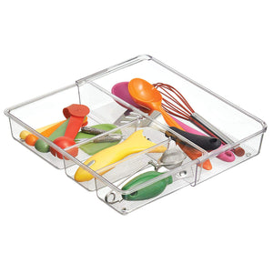mDesign Adjustable, Expandable 4 Compartment Kitchen Cabinet Drawer Organizer Tray - Deep Divided Sections for Cutlery, Serving Spoons, Cooking Utensils, Gadgets, BPA Free, Food Safe - Clear
