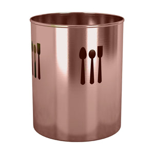 nu steel TG-UH-16CL Utensils Holder Spoon Cutout 4 Qtr. Copper Lacquered, 7.5'' H X 7.5'' W X 7.5'' D, Copper Color