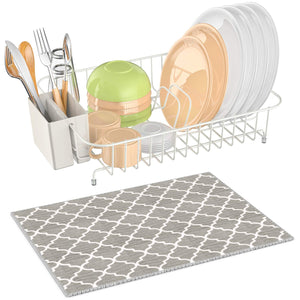 Dish Drying Rack, iSPECLE Dish Rack with Utensil Holder, Microfiber Dish Drainer Mat with Dish Rack Wire for Kitchen Counter Top, White Color Poblished Anti Rust Dish Holder, 13.8 x 10.6 x 3.5inch