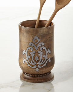 GG Collection Wood and Metal Utensil Holder