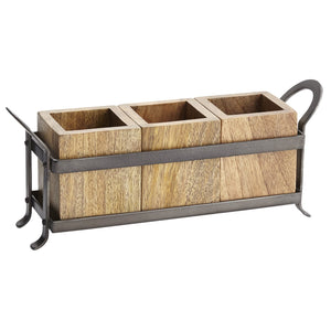 Pier 1 Imports 3-Compartment Wooden Napa Utensil Holder Caddy in Carrier