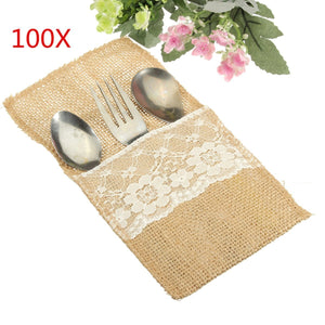 KINGSO Natural Jute Burlap Lace Utensil Holders Silverware Napkin Holders Cutlery Pouch Knifes Forks Bag for Country Wedding Decor Bridal Shower Party Table Setting Decor 100pcs