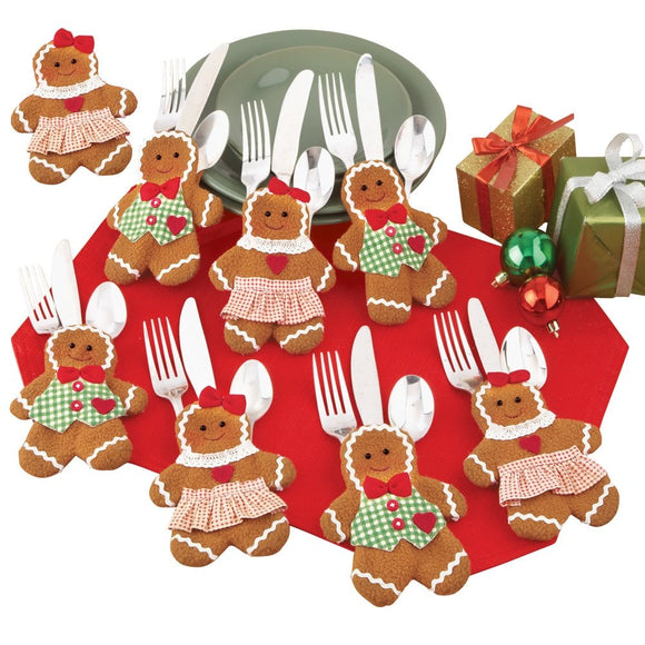 Holiday Gingerbread Utensil Holder - Set of 8