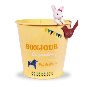 Slash Countryside Country Style Metal Bucket With Cute Rabbit Utensil Holder Pen Pencil Holder Desk Organizer Accessories Garden Planter (Milky Yellow)