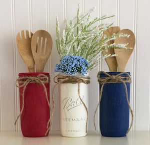 Mason Jar Utensil Holder Set - 3 Piece, 4th Of July, Red White And Blue, Kitchen Decor