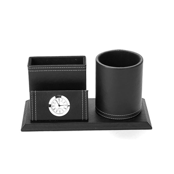 Mind Reader PENCLOCK-BLK Travel Utensil Holder Storage Compartment with Clock, Black