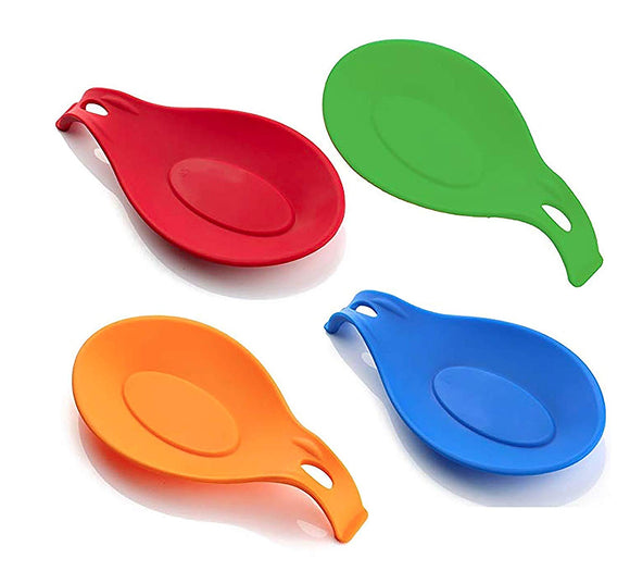 Spoon Rest, Spoon Holder, Counter Top Spoon Holder, Silicone Spoon Rest, Spoon Rest for Stove, Non-Stick Large Kitchen Spoon Rest, Cooking Spoon Rest, Spatula Holder (4 Pack)