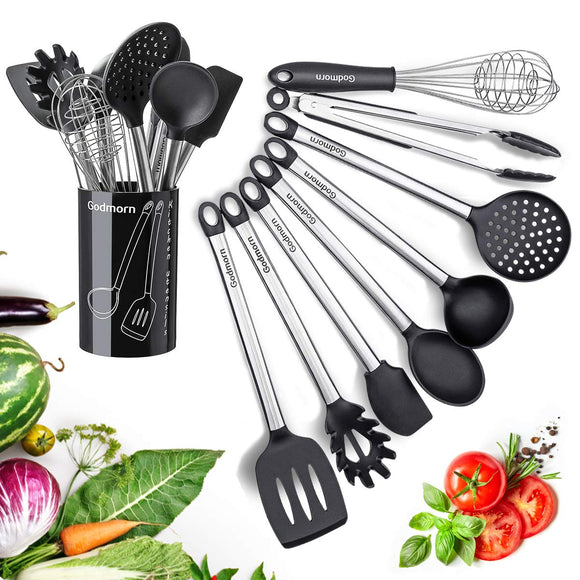 Silicone Kitchen Utensil Set Godmorn 9 Pcs Cooking Utensil Nonstick Kitchen Tool with Plastic Holder, Stainless Steel Heat Resistant and Nonstick Cooking Gadgets Tool black BPA Free