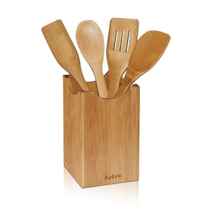 FURINNO Dapur Bamboo Kitchen Utensil with Holder, Natural