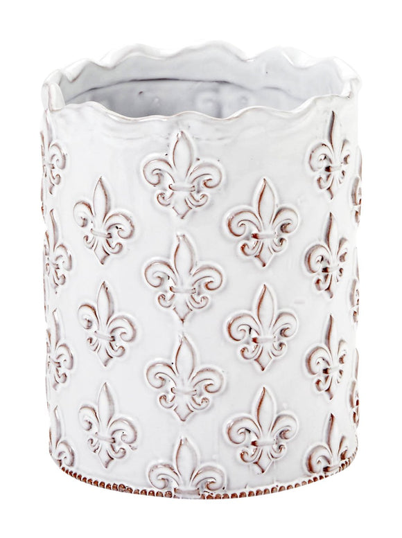 Mud Pie Fleur de Lis Utensil Holder, White