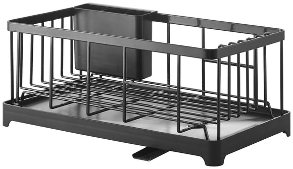 Modern Design Stainless Steel Self Draining Drying Dish Rack in Black
