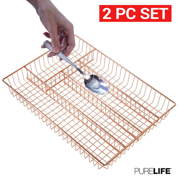 Silverware Organizer 2pc Set | Double Coated Copper Utensil Drawer Organizer - Stylish Flat Drawer Tray - 2 Piece Double Coated Copper Storage Set