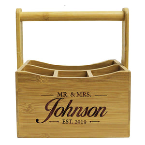 Engraved Utensil Holder Caddy - Picnic Gifts for Her, Couples, Housewarming for New Home - Custom Personalized for Free
