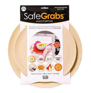 Safe Grabs Seen on Shark Tank: Multi-Purpose Silicone Microwave Mat, BPA Free Kitchen Tool, Set of 2, Beige