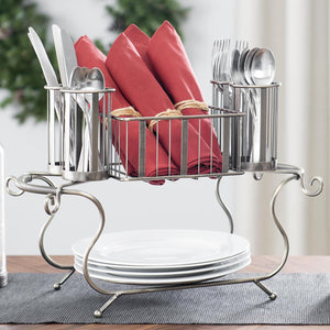MESA Delaware Buffet Silverware Caddy Dinner Plate Holder (Gunmetal Finish)