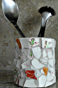 recycled upcycled decorative mosaic tin can desk accessory; kitchen utensil holder; bathroom accessory holder