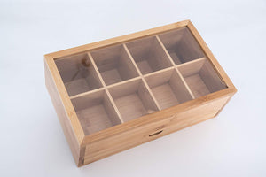 Deluxe 100% Natural Bamboo Tea Storage Box, Full Length Drawer for Loose Leaf Tea plus Free Stainless Steel Tea Squeezer