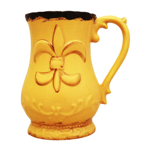 Tuscany Fleur De Lis Collection, Hand Painted Ceramic Yellow Utensil Holder, 82038-1 by ACK