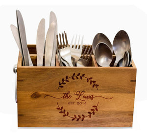 Beautiful Silverware Caddy, kitchen Utensil Holder,Personalize Kitchen Stuff, Picnic Caddy,kitchen tool holder, housewarming Gift (CD-6)