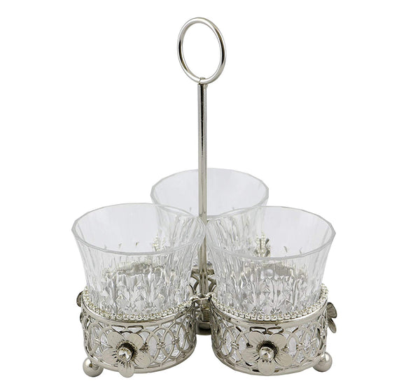Elegant Metallic Silver And Glass Utensil Holder 3 in1 Sectioned compartment Crystal Accented